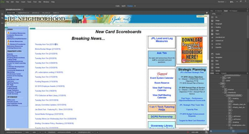 Homepage of the Intranet